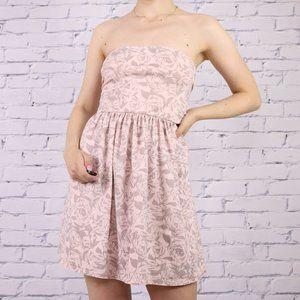 Aritzia Talula pink strapless twist mini dress c1